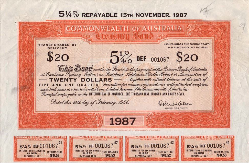 Old Fashion Bond Certificate with the Coupons Still Attached below the Residual.