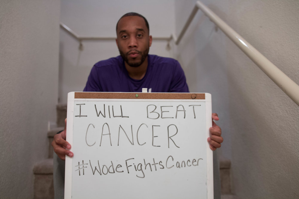"Jermaine Seagears, CEO and Founder of Work Or Don't Eat Pictured above holding "" I Will Beat cancer"" Poster after being diagnosed with Diffused B-Cell Non Hodgkins Lymphoma Cancer. November, 2016."