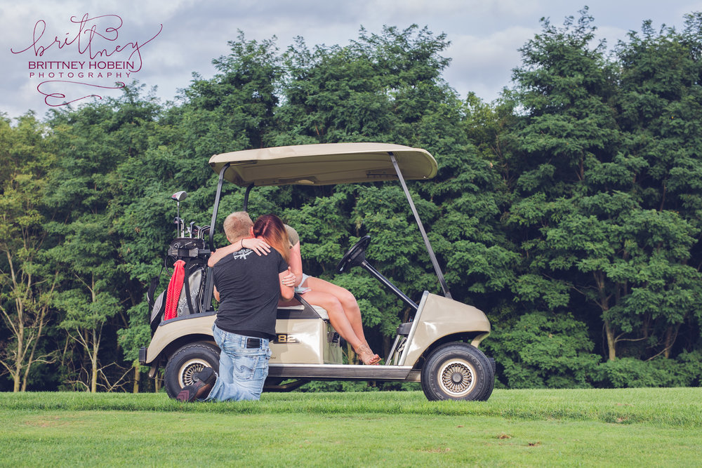 The forecast predicted 100% chance of torrential downpours for over 36 hours and it would occur over the exact time that he had carefully planned for his proposal on the golf course. After chaotically scheming up a plan B and possibly C, out of nowhere the radar miraculously cleared... and she said yes!