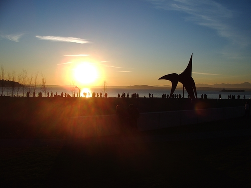 The Olympic Sculpture Park at sunset