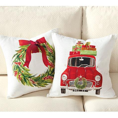 Watercolor Holiday Pillows from Ballard Designs.
