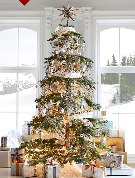 4 Ways to Decorate for Christmas: Winter Wonderland tree at Pottery Barn.