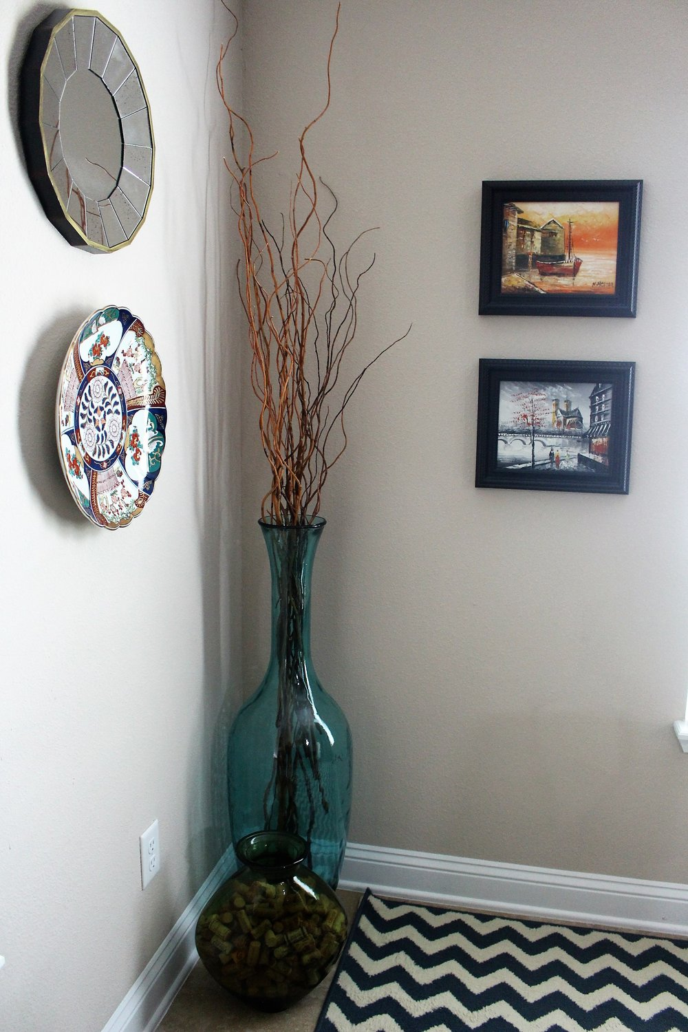 dining room updates dapper house designs in the other corner i placed this huge blue vase from home goods as soon as i saw it at the store i knew i had to have it and to be