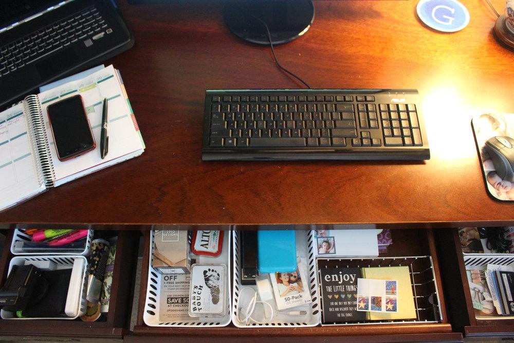 Dollar store office drawer organization