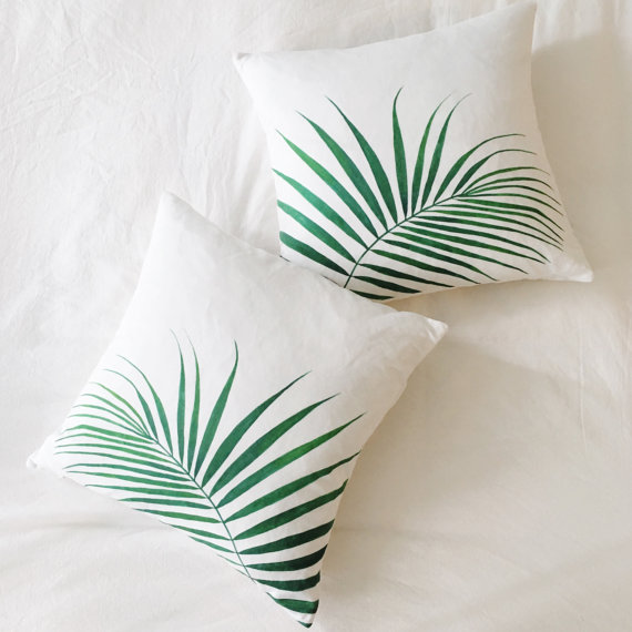 Palm Leaf Throw Pillow Cover - $40+