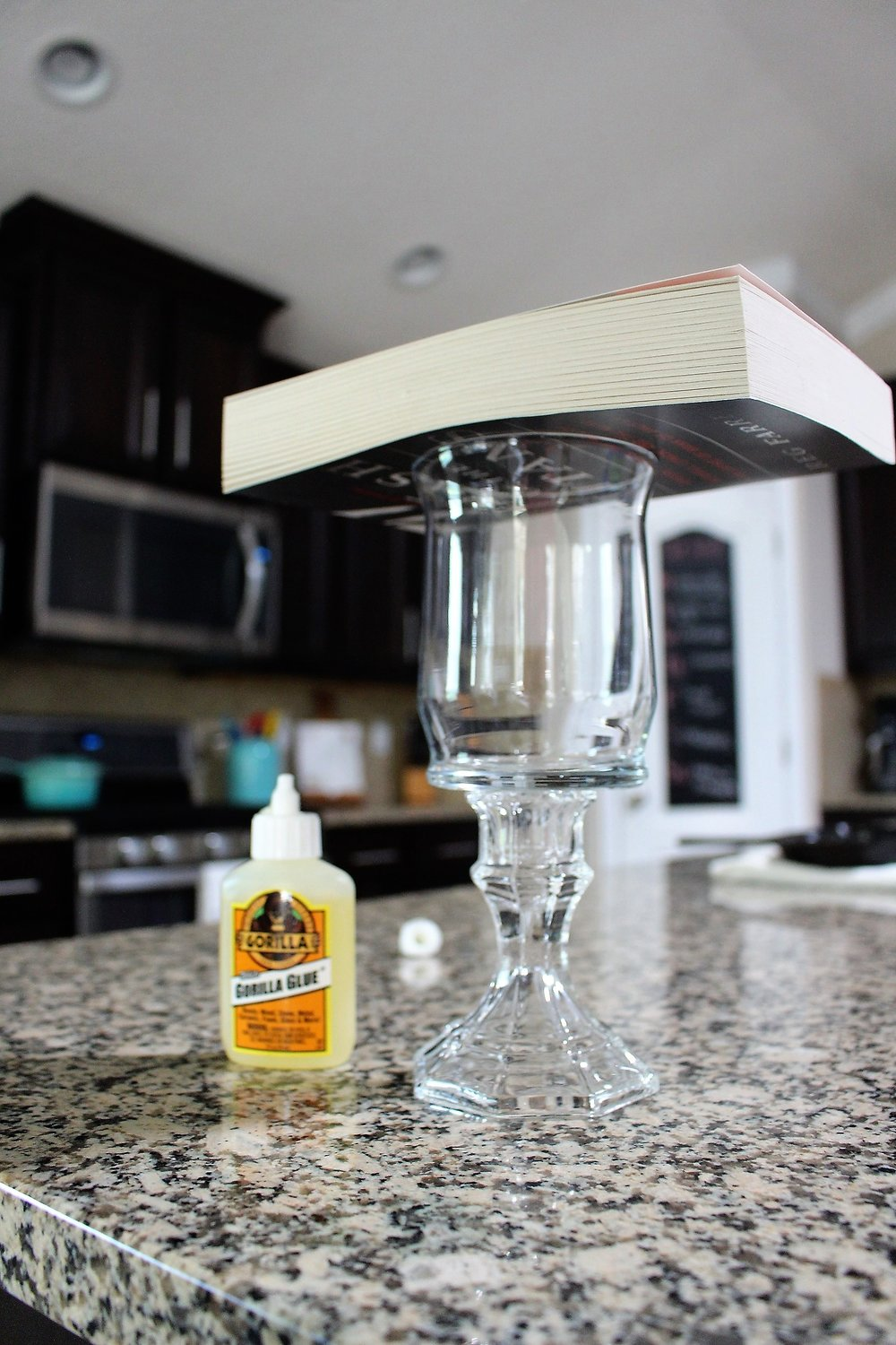Place something heavy on top and let sit for about 15 minutes while glue dries.