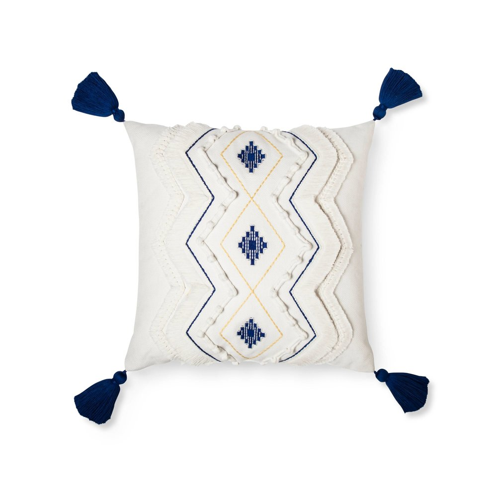 Cream Diamond Throw Pillow with Tassels - Threshold™