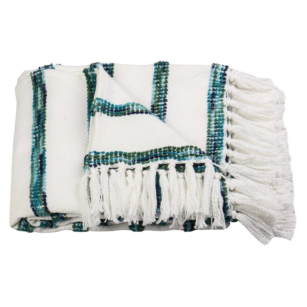 Striped Throw Blanket - White/Blue - Threshold™