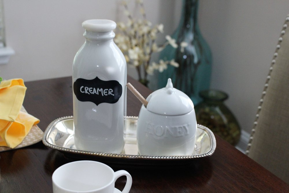 Creamer and honey decor tablescape