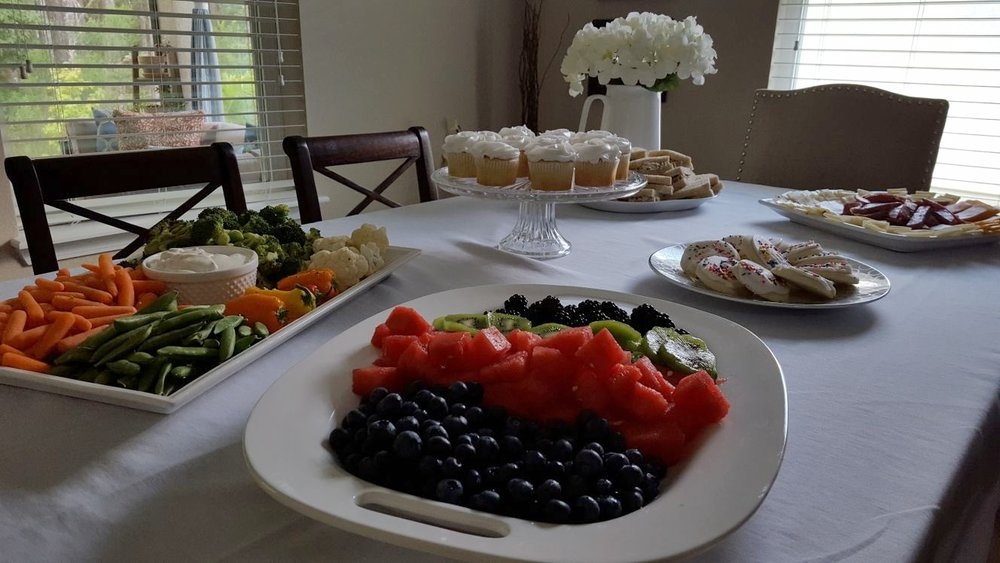 baptism tablescape food