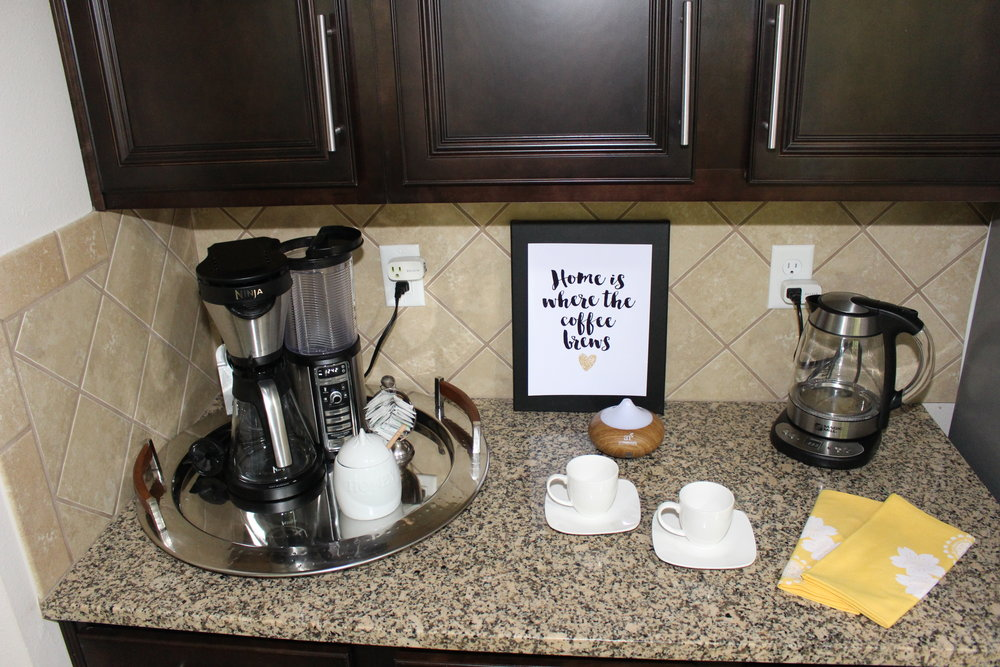 kitchen counter coffee and tea station