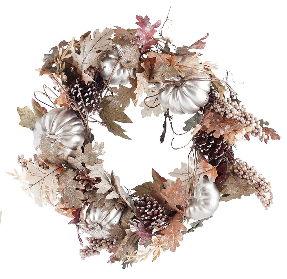 Harvest Pumpkin & Pinecone Wreath - $48.88