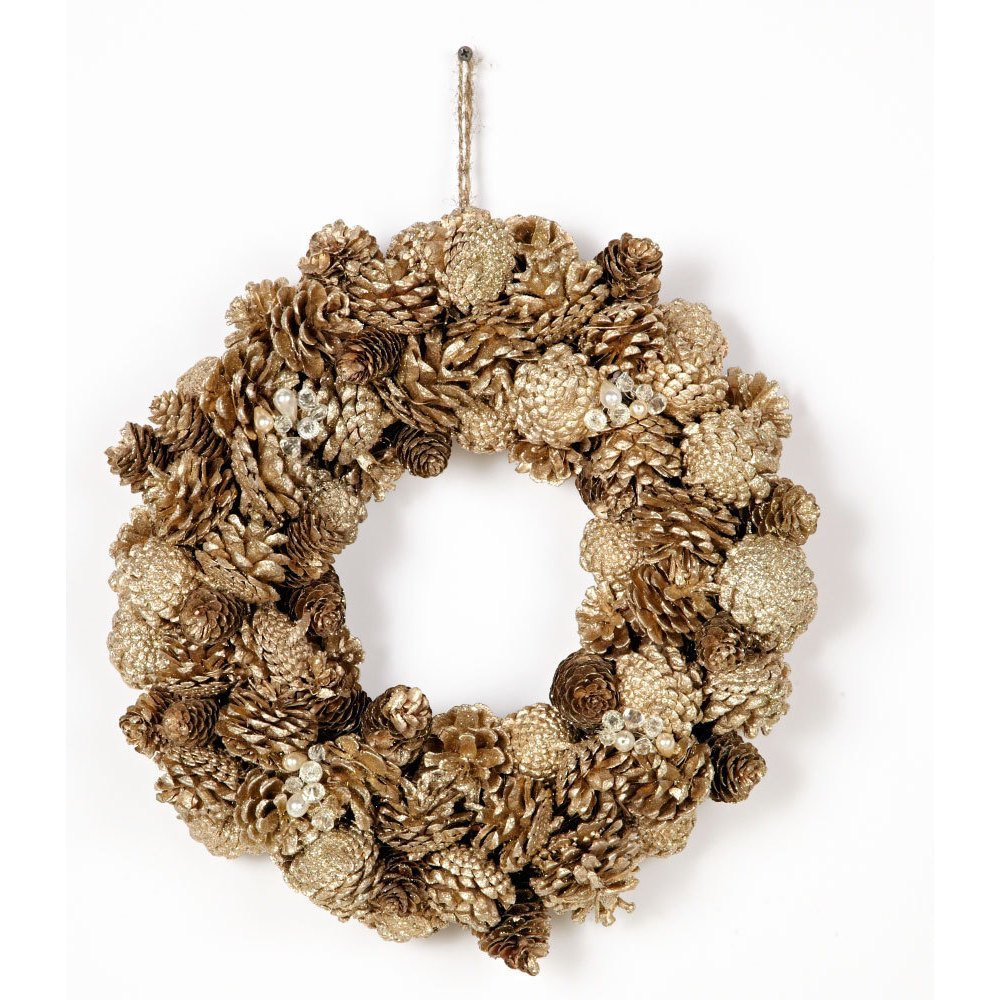Silvery Pinecone Glitter Wreath - $28.99