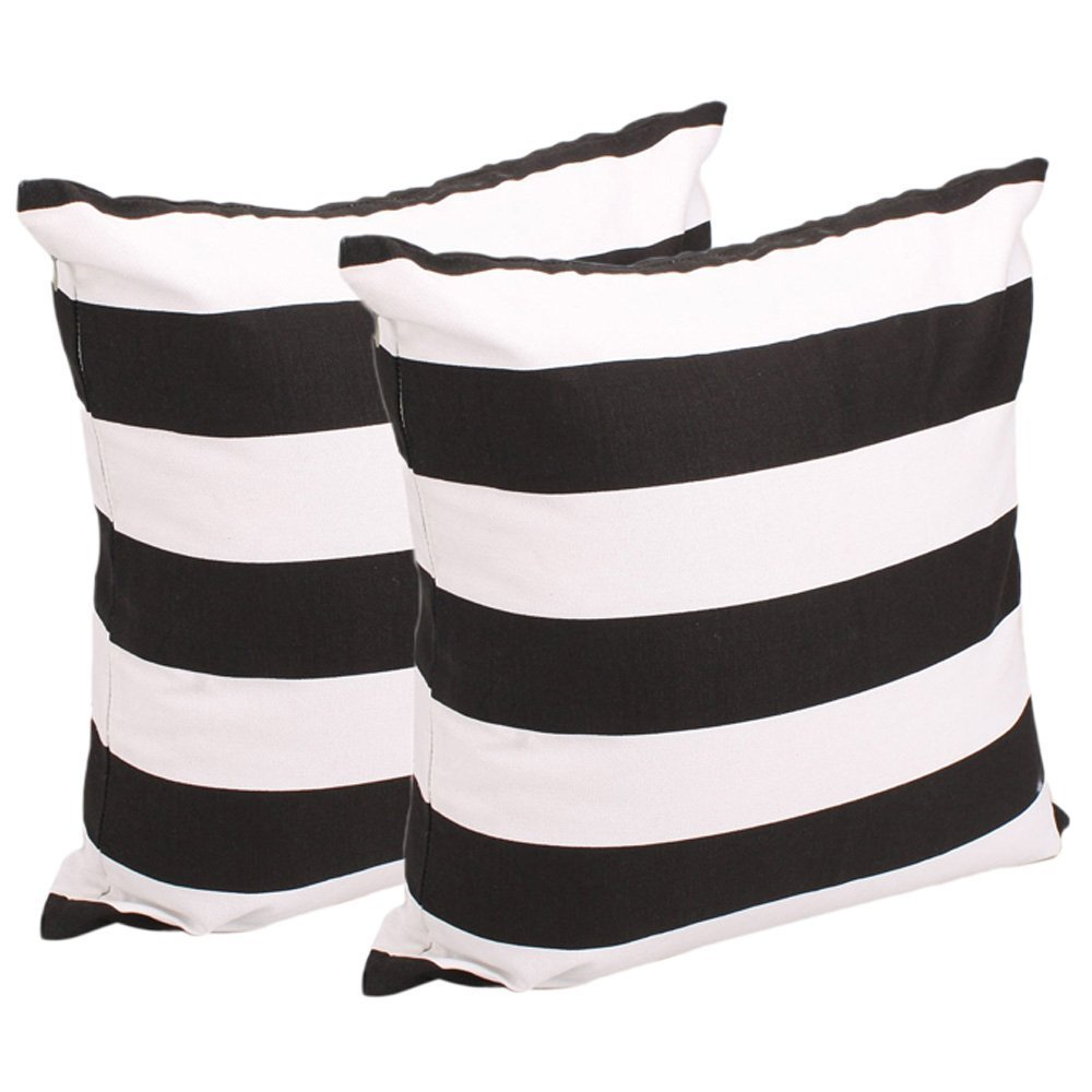 Add some stripped black and white throw pillows! Set of 2 - $5.89