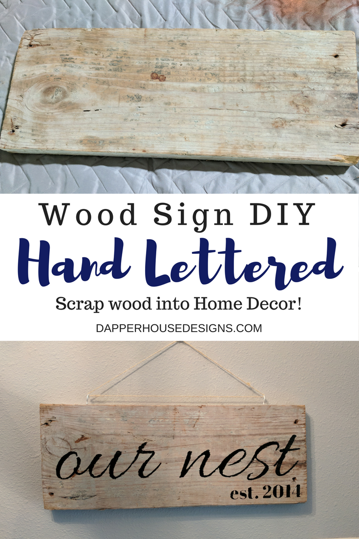 hand lettered wood sign DIY