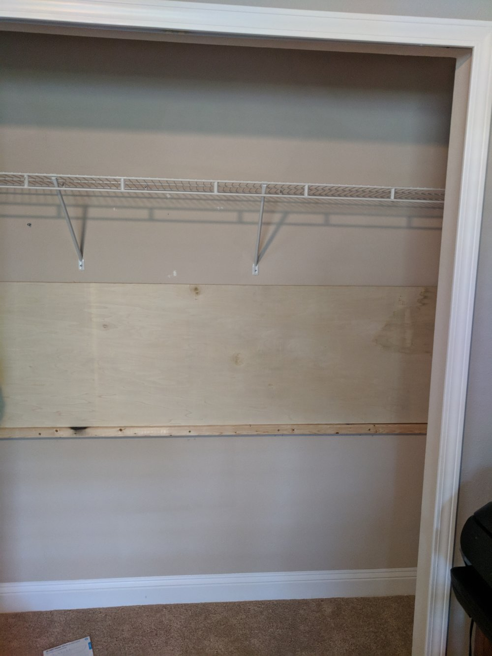 floating desk in closet office DIY
