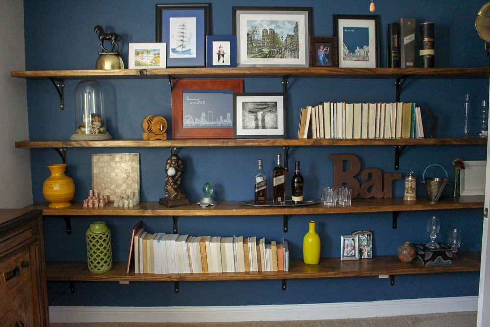 Styling wall to wall shelves