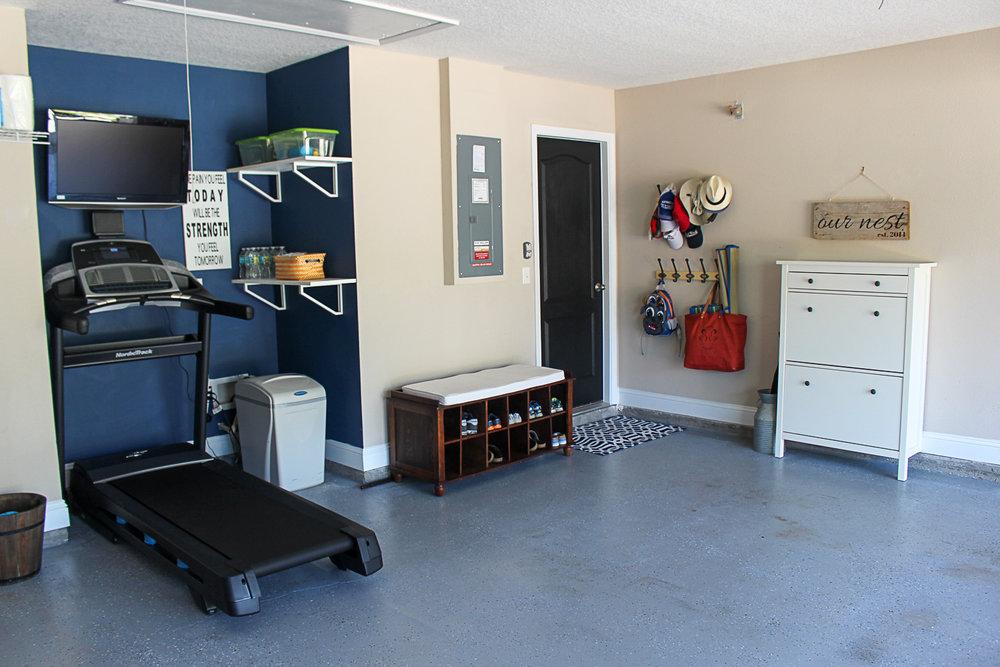 Garage workout area and organization.jpg
