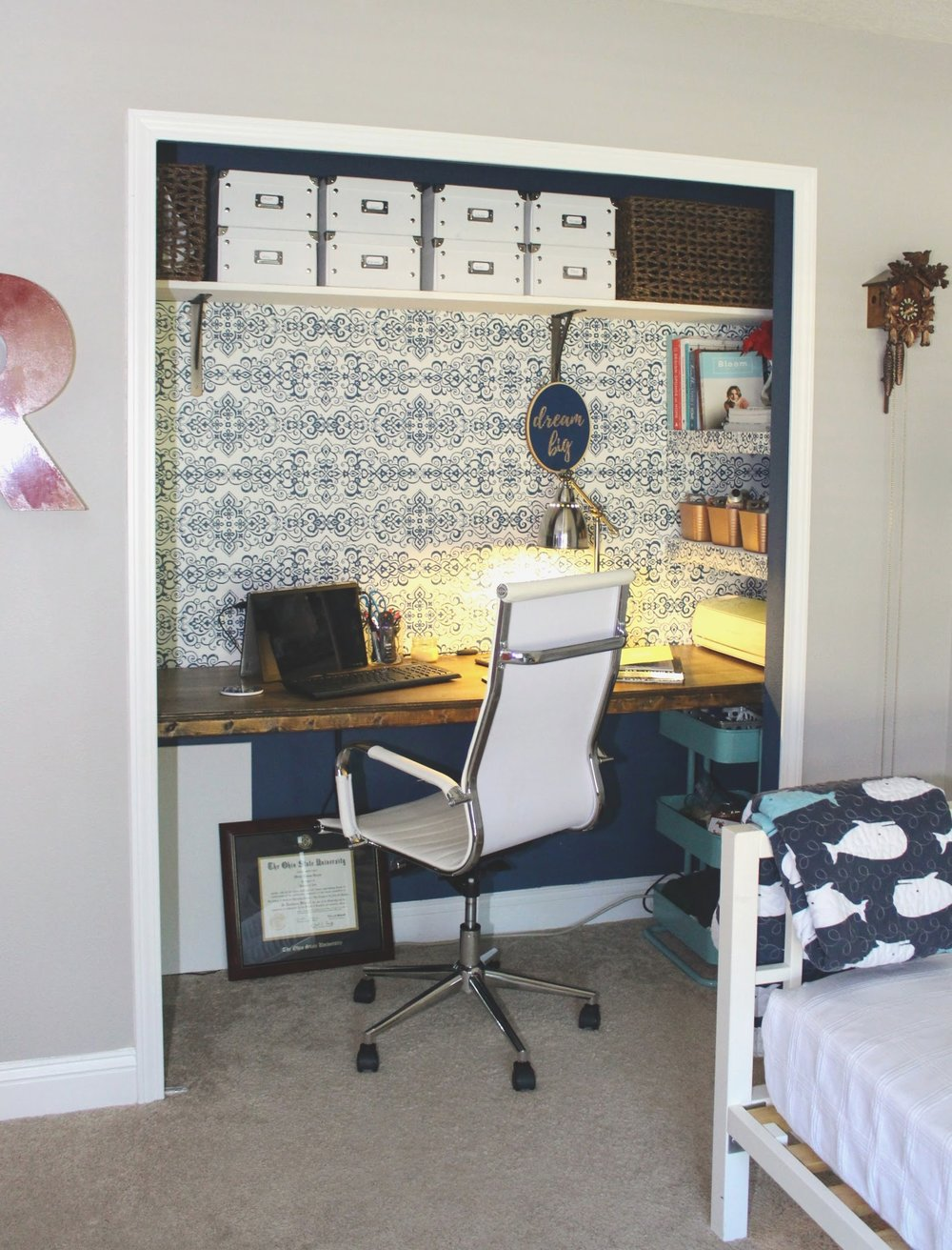 Closet office in the playroom