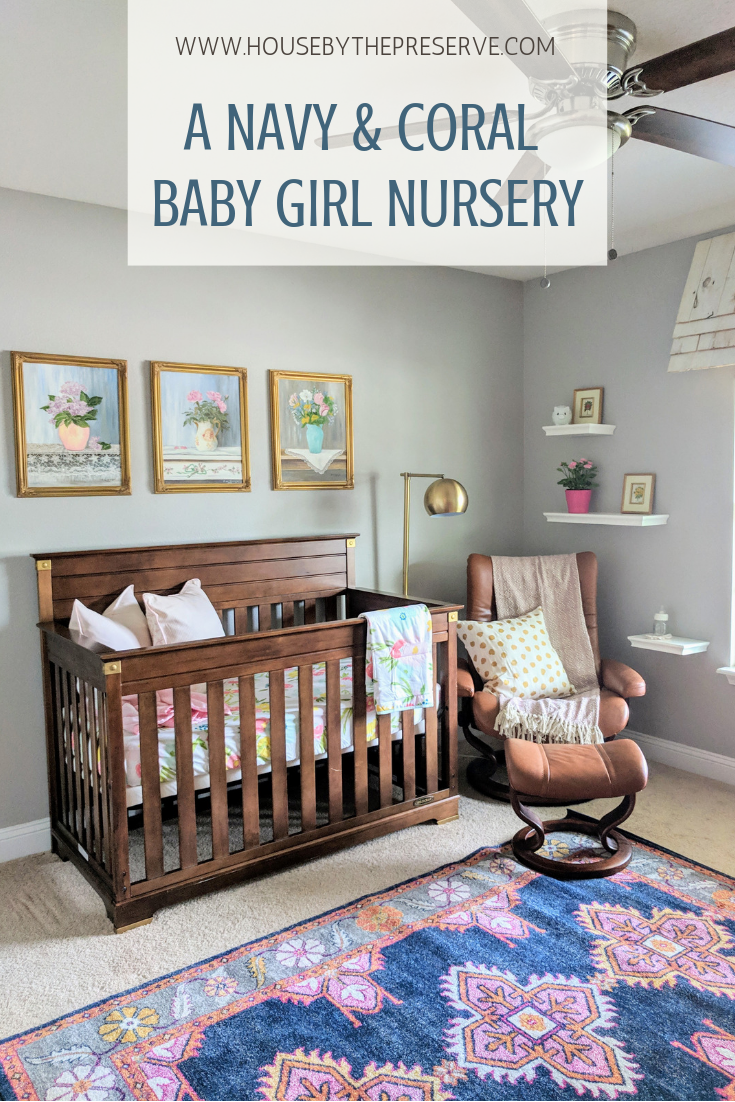 A navy and coral baby girl nursery - House by the Preserve.png
