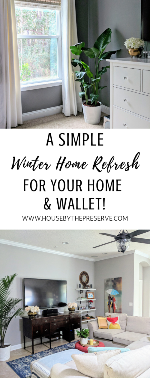 Decorating after the holidays doesn't have to be a bore! Check out the ways I've updated my home for winter. #winterdecor #winterhomedecor #housebythepreserve #homedecor