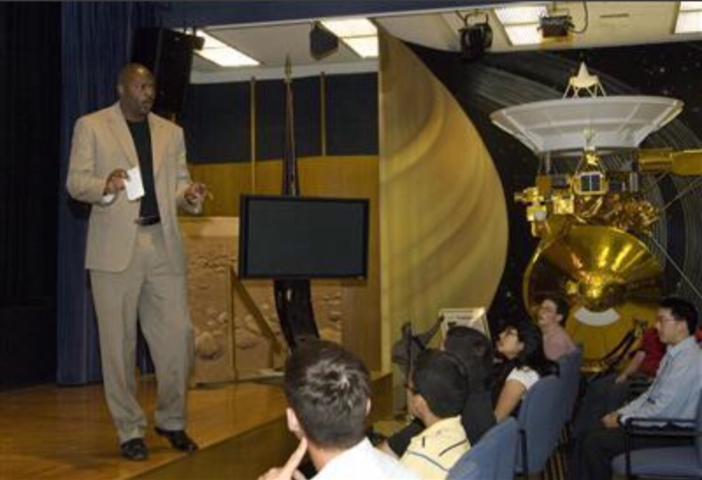 Wendell Tull doing a presentation at NASA's Jet Propulsion Laboratory.