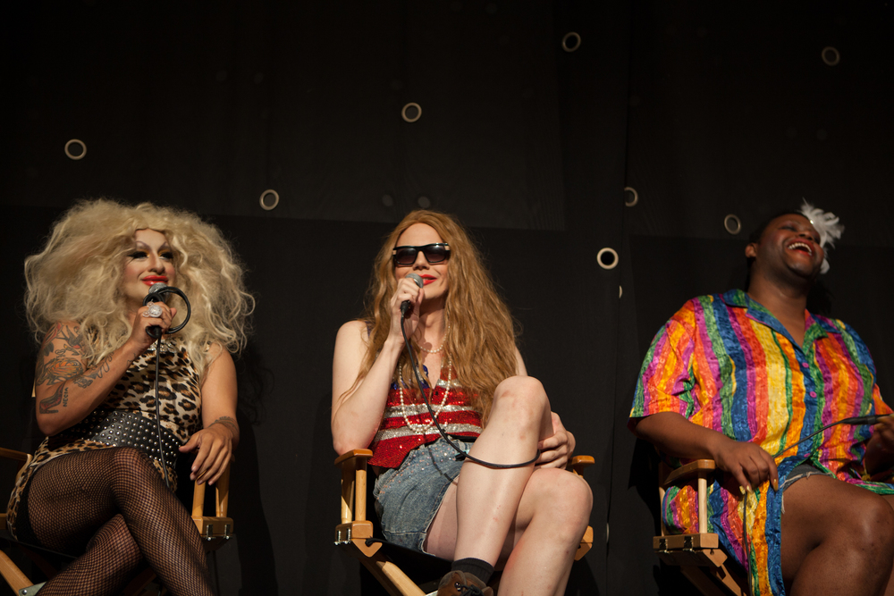 Queer|Art|Film presenters Horrochata, Macy Rodman and Merrie Cherry of BUSHWIG on stage at the July 2014 screening of  Hedwig and the Angry Inch.  (Photo by Ryan Morris)