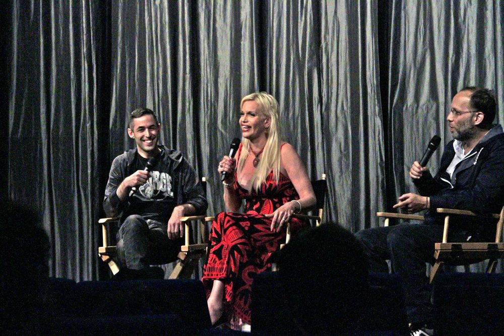 Co-curators Adam Baran and Ira Sachs on stage with presenter Barbra Herr at the June 2014 screening of  Suddenly, Last Summer.  (Photo by Richard Davis)