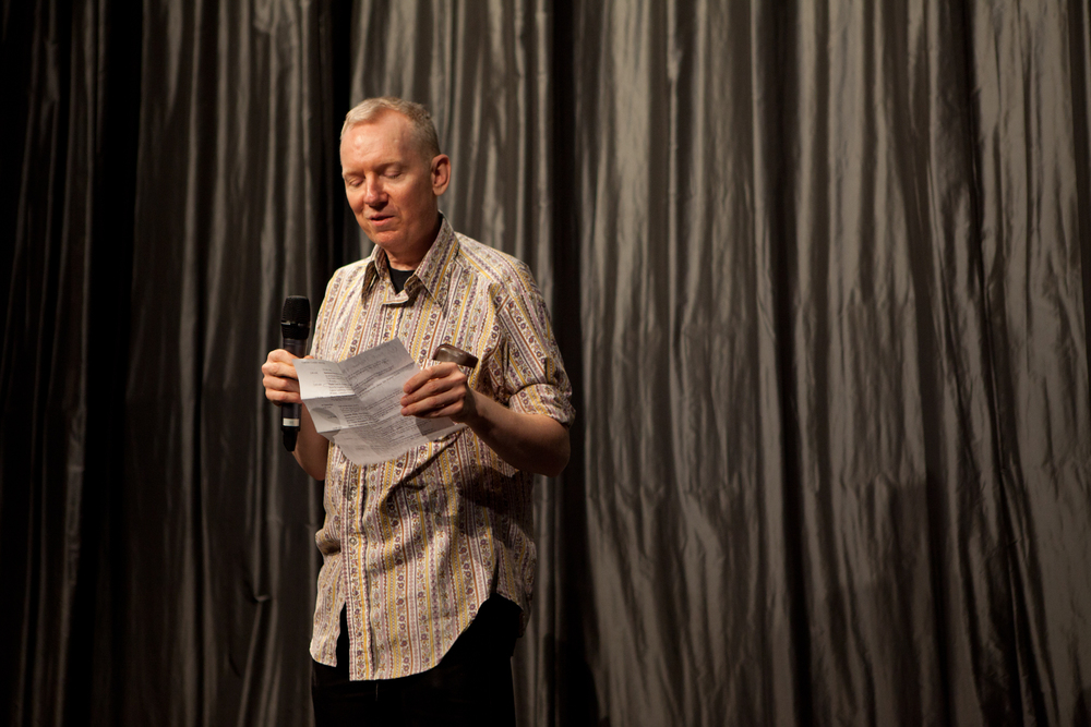 Queer|Art|Film presenter John Epperson introducing the May 2014 screening of  OUTRAGEOUS! . (Photo by Ryan Morris)