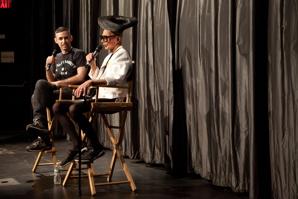 Co-curator Adam Baran on stage with special guest Flawless Sabrina at the August 2014 screening of  The Queen . (Photo by Ryan Morris)