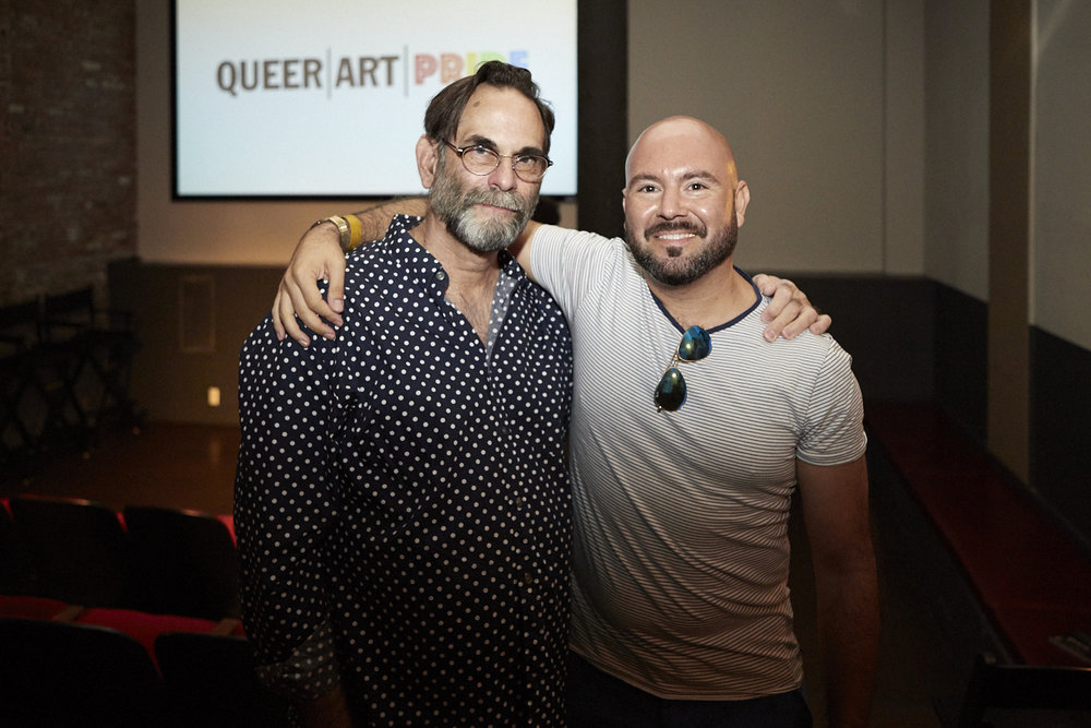 Copy of Avram Finkelstein and Rodrigo Bellott at QAM Alumni Shorts Screening for Queer|Art|Pride at Wythe Hotel, June 2017. (Photo by Eric McNatt)