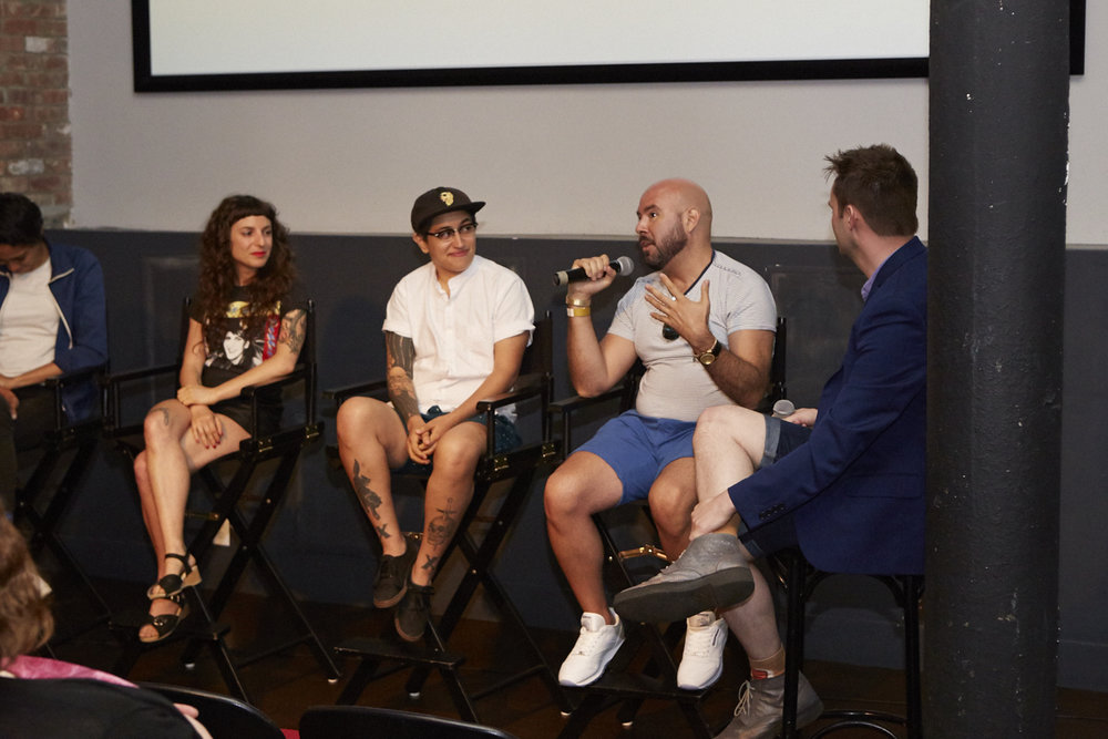 Copy of Sasha Wortzel, Mylo Mendez, Rodrigo Bellott & Travis Chamberlain during Q&A at QAM Alumni Shorts Screening for Queer|Art|Pride at Wythe Hotel, June 2017. (Photo by Eric McNatt)