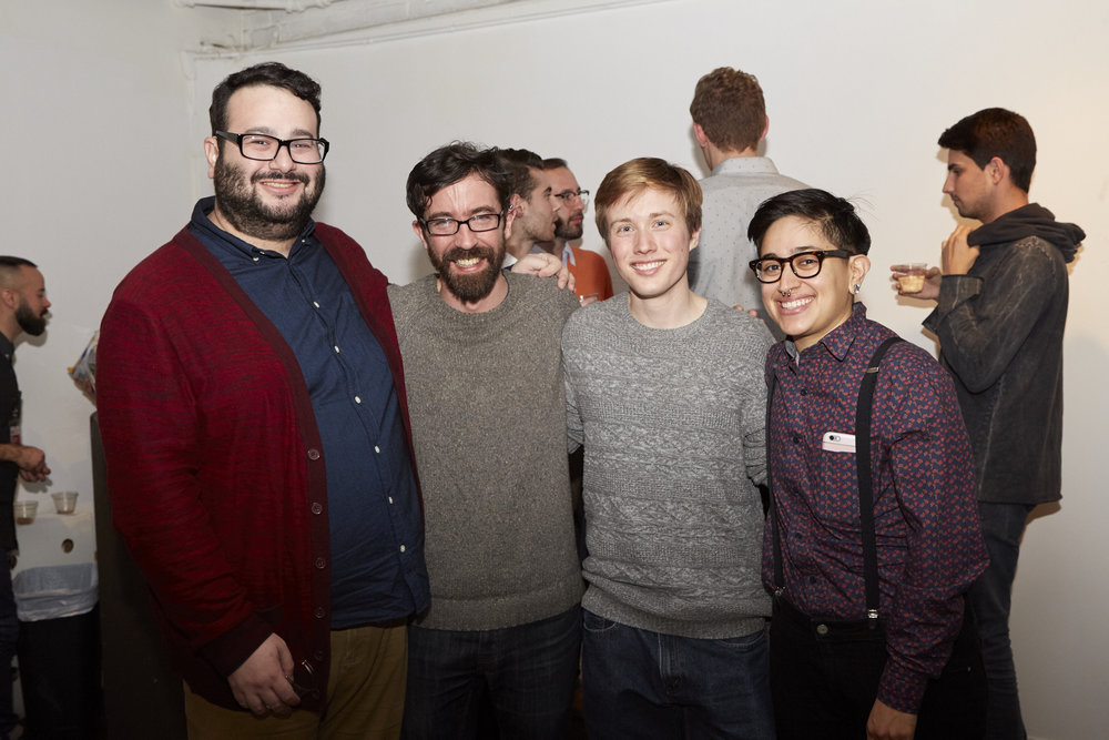 Fellows Jacob Matkov, Hugh Ryan, Brendan Williams-Childs, and Mylo Mendez at Opening Reception of QAM 2015-2016 Annual Exhibition (Photo by Eric McNatt)