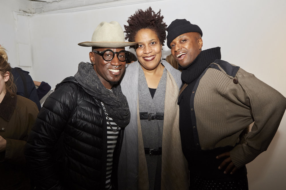 Manchild, Kimberly Mayhorn, and Monstah Black at Opening Reception of QAM 2015-2016 Annual Exhibition (Photo by Eric McNatt)