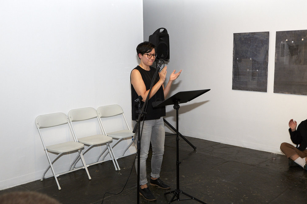Emily U. Hashimoto Reading at Live Event of QAM 2016-2017 Annual Exhibtion 01 (Photo by Eric McNatt)