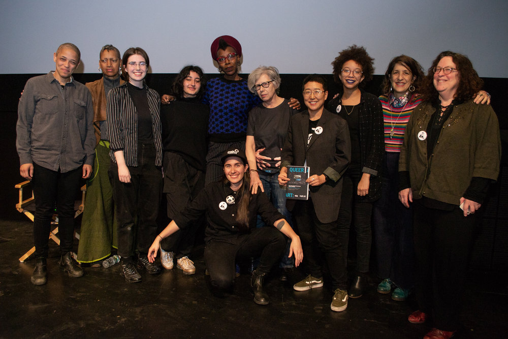 From left to right: Kimberlee Venable, Ayanna U'Dongo, Anna Burholt, Tandis Shoushtray, Miatta Kawinzi, Vanessa Haroutunian, Cecilia Dougherty, Erica Cho, Carmel Curtis, Lynne Sachs, and Peggy Ahwesh. Image by Tiph Browne