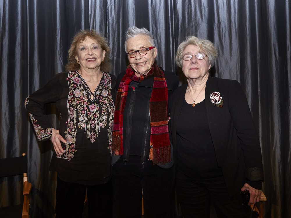 Carolee Schneemann, Barbara Hammer, and Martha Rosler at the Hammer Mix, where the first winner of the Hammer Grant was announced (2017) — Image by Eric McNatt