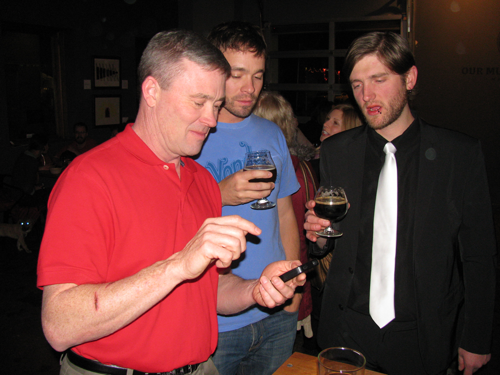 Rick Peterson, Justin Peterson, Chris Depew at Dynam Novel Launch Party at Our Mutual Friend in Denver Colorado