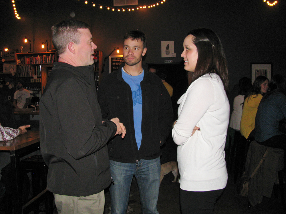 Rick Peterson, Justin Peterson, Joelle Carlson at Dynam Novel Launch Party Denver