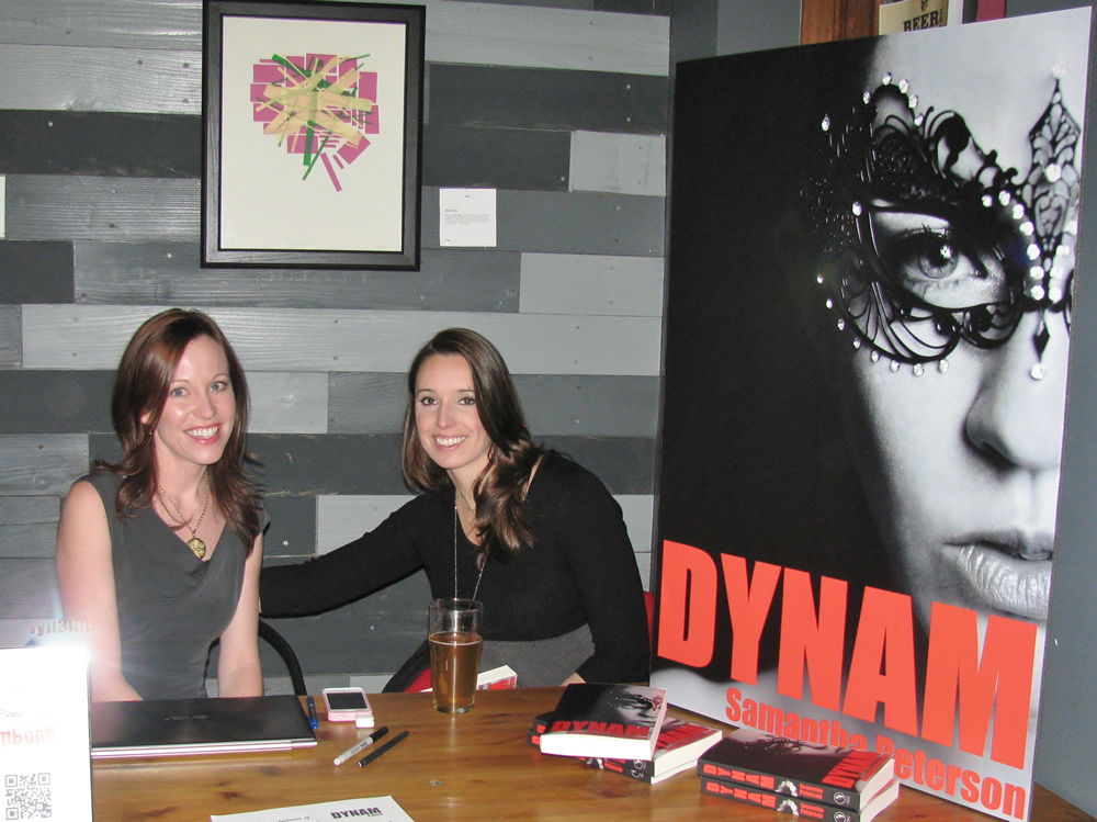 Samantha Peterson & Brittany Conrad  Dynam Novel Launch Party at Our Mutual Friend Malt & Brew Denver Colorado