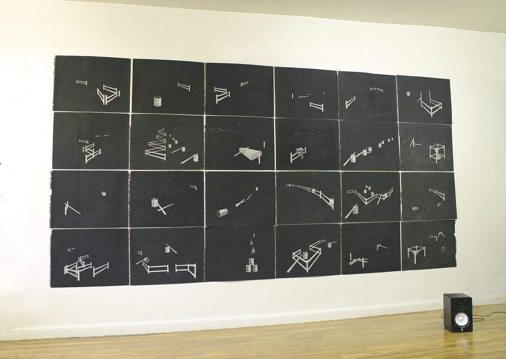 Horse Sense, erased carcoal drawings on paper
