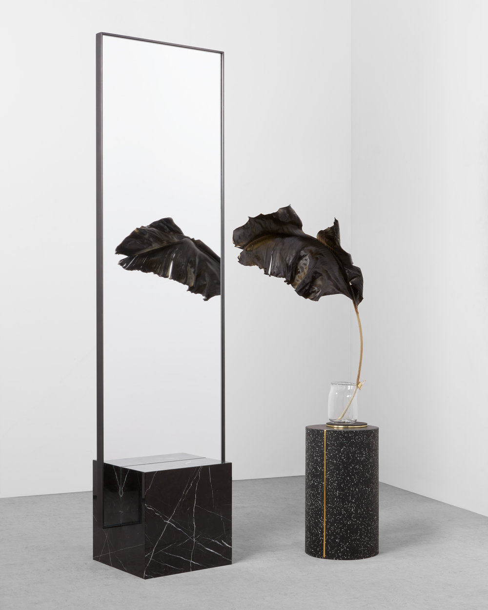Dark Spring: Nero COEXIST Standing Mirror with Black Concrete Rubber CYL