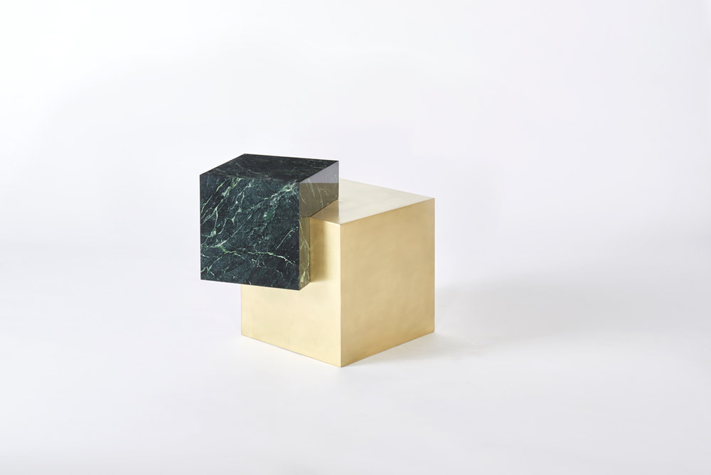 COEXIST ASKEW Empress Green Marble & Brass Side Table