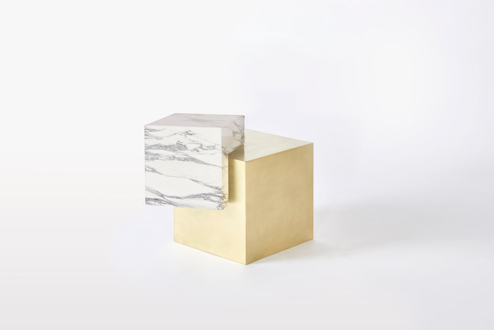 COEXIST ASKEW Statuary Marble & Brass Side Table
