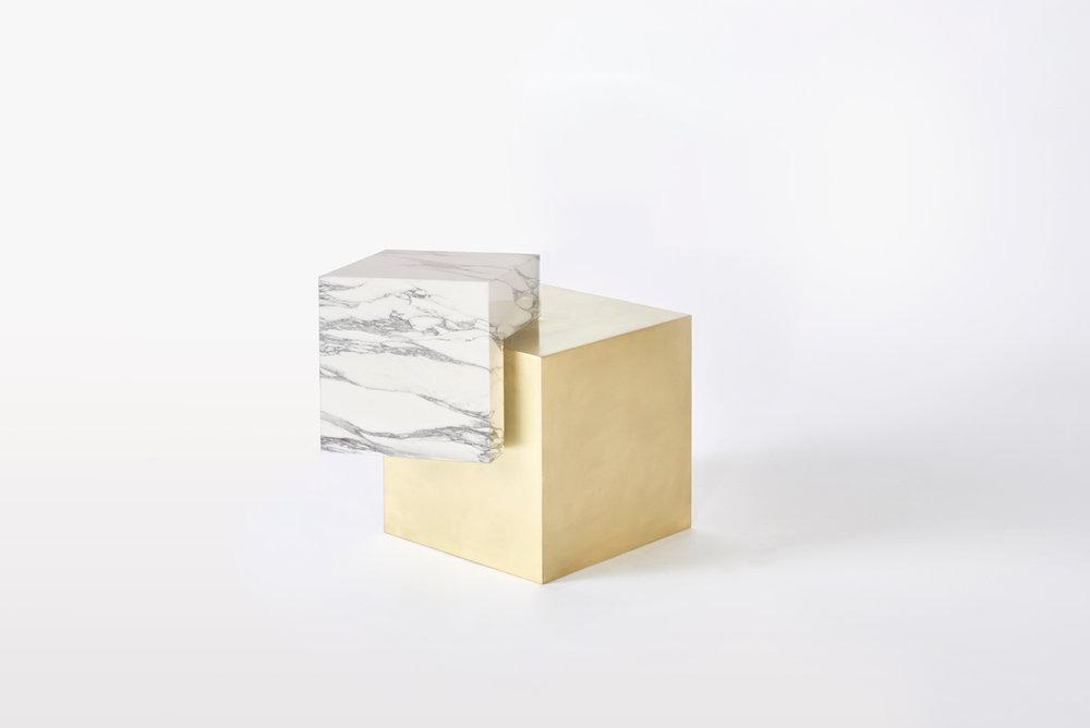 COEXIST ASKEW Statuary Marble U0026amp; Brass Side Table