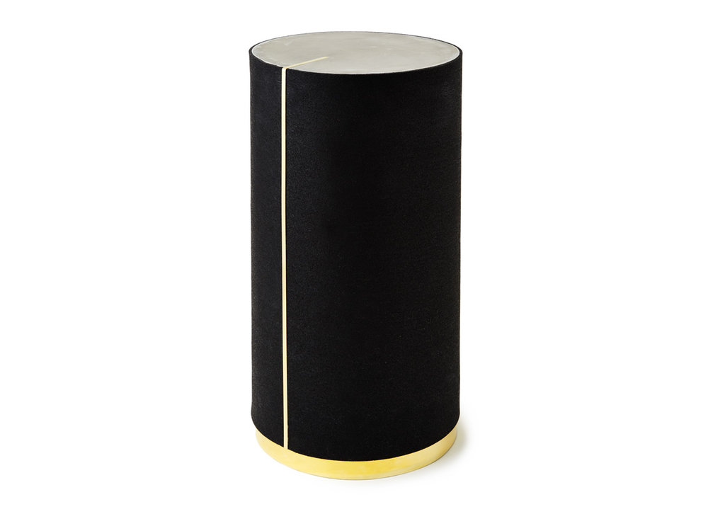 Rubber CYL II in Pure Black with Brass Trim