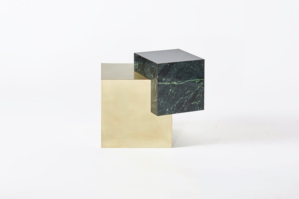 COEXIST ASKEW Empress Green Marble & Brass Side Table - Side View