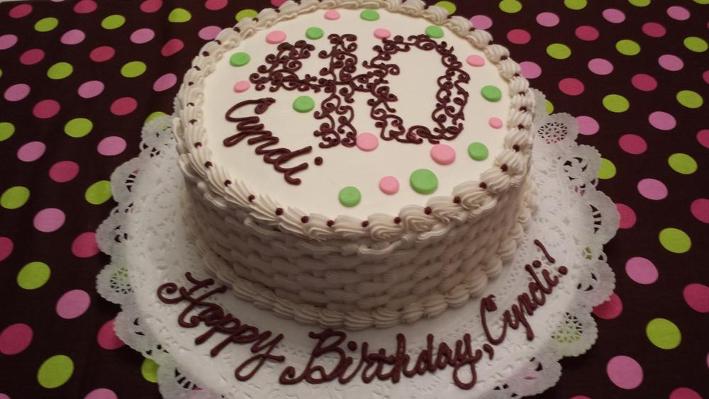 40th Birthday Basketweave Cake