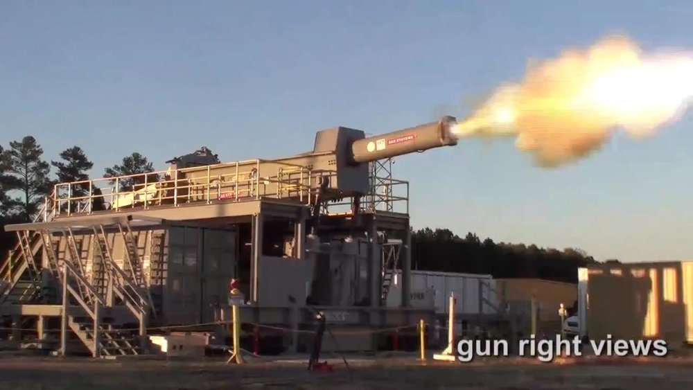 U.S. Navy test firing the BAE System railgun prototype at its test range near Dahlgren, VA,in March 2017