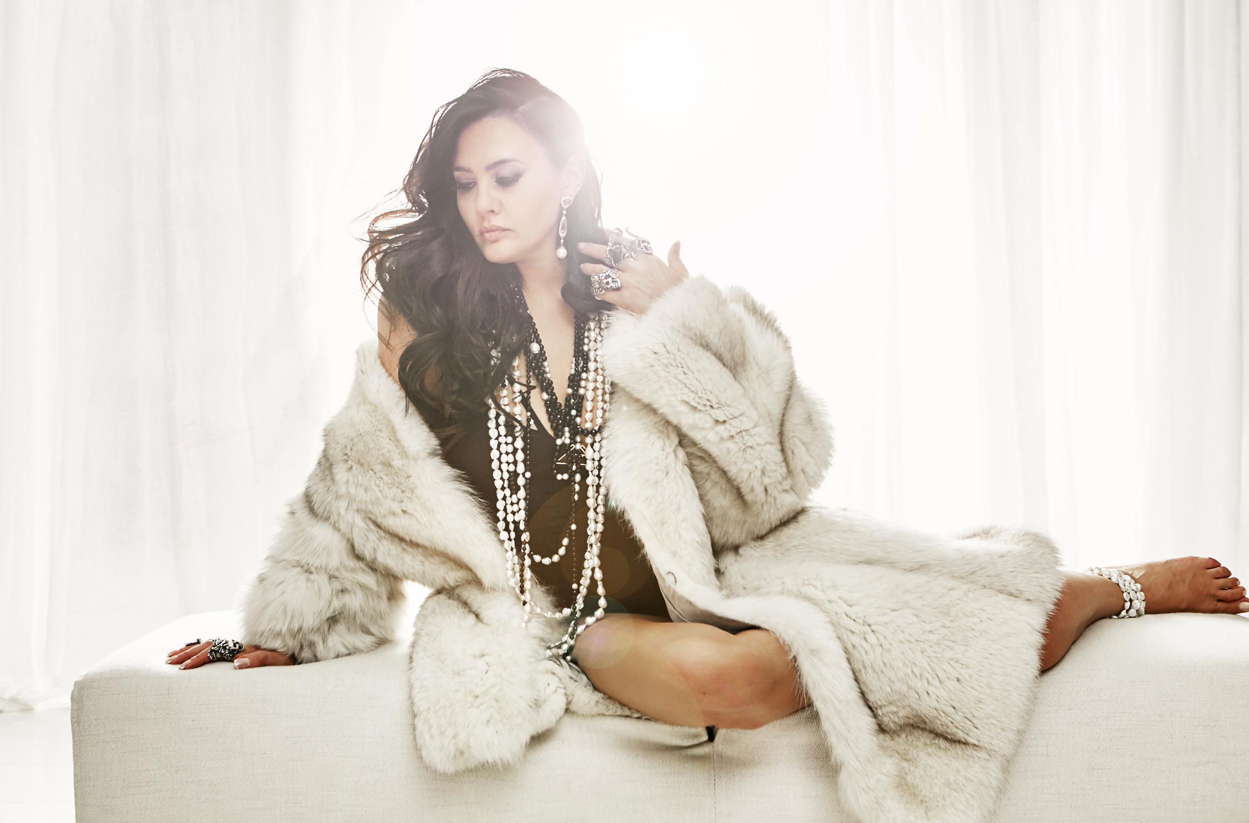 Heart of Bone Rings, Anton Necklaces and Earrings, Faux Fur Jacket and Herve Leger Bodysuit